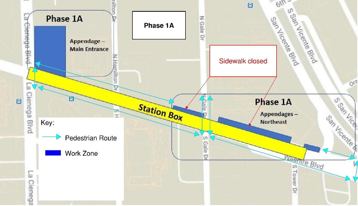 Map of pedestrian and auto detour