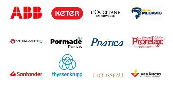 Logos ABB, Keter, L'Occitane, Megavig, Metalworks, Pormade, Pratica, Prorelax, Santander, Thyssenkrupp, Trousseau, Venancio