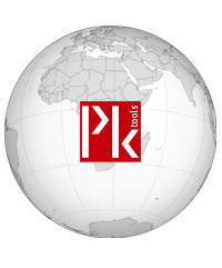 Globe with Pktools logo