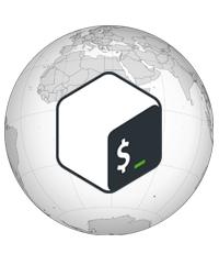 Globe with Bash logo